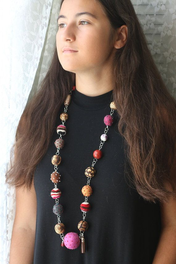 Raspberry Extra Long Layering Hand Felted Necklace by Annaart72