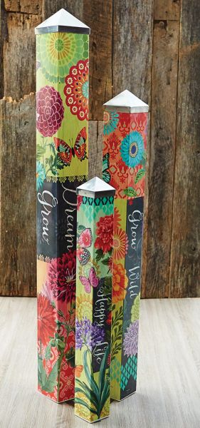 Give artist Jennifer Brinley three blank poles to tell a story and this Art Pole Garden is the result. Art Poles feature artwork laminated onto a lightweight PVC pole for fade-resistance, durability, & reduced shipping cost. Easy to install. Hardware included. Patent pending. $399.95