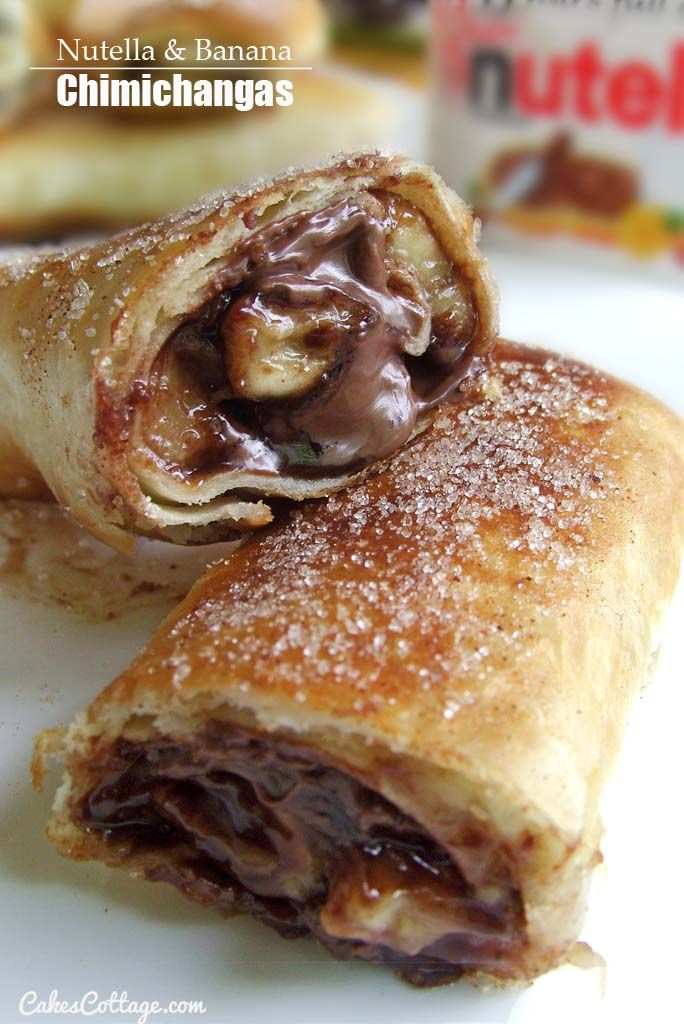 a nutella and banana stuffed burrito that has been deep fried