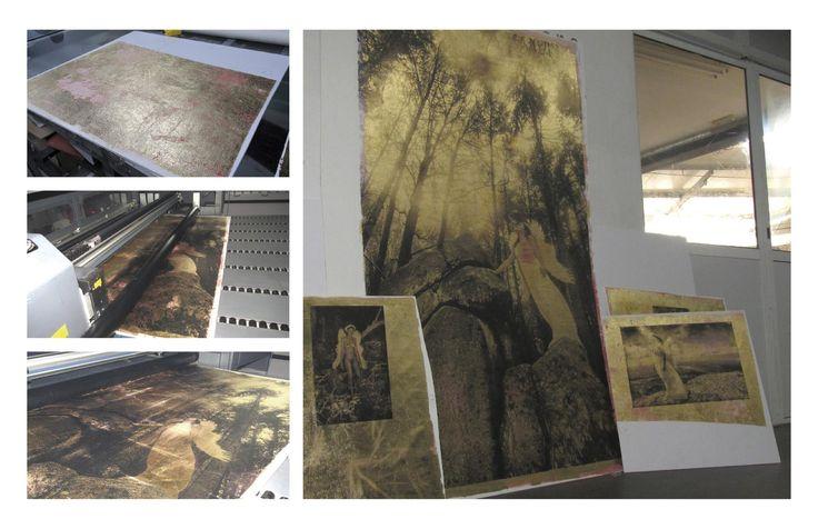 Tela coberta por folha dourada impressa diretamente... by CdR