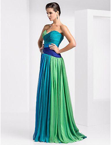 bainha / coluna namorada do assoalho-comprimento chiffon ombre vestido de noite - GBP £ 173.99
