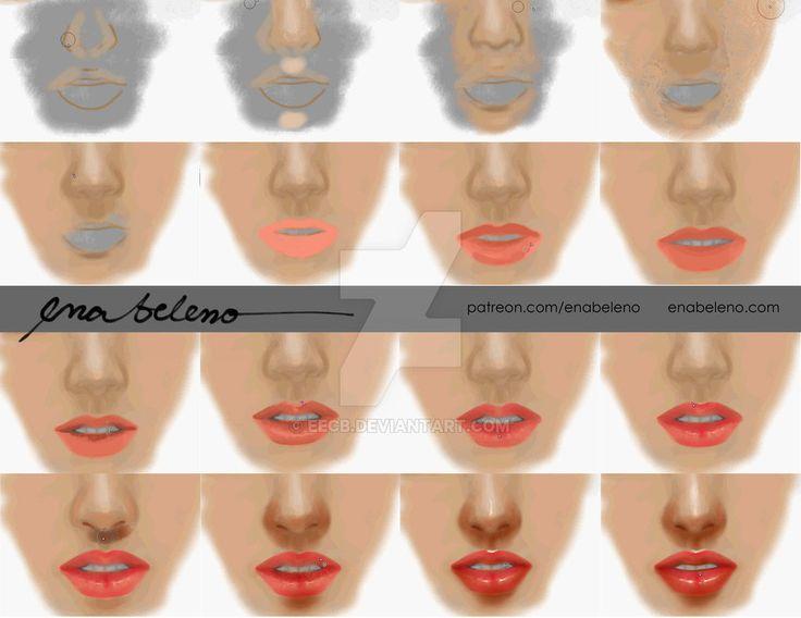 Tutorial: Nose, Lips Digital Painting | Ena Beleno by enabeleno.deviantart.com on @DeviantArt