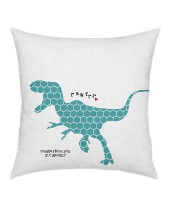 """Rawrrr"" Dino Pillow on Zulily"