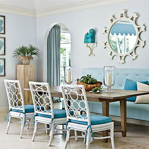 Diy coastal banquette seating ideas out of bookshelves for Beach dining room ideas