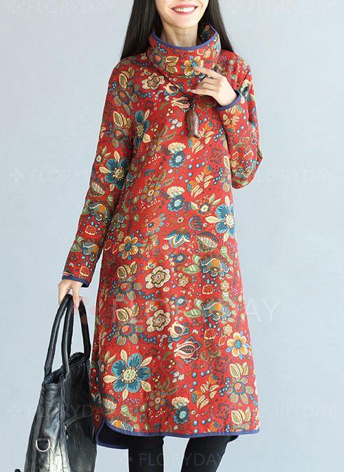 Платья - $44.31 - Винтажное платье из смески хлопка длины миди с цветочным принтом с длинными рукавами (1955115028)