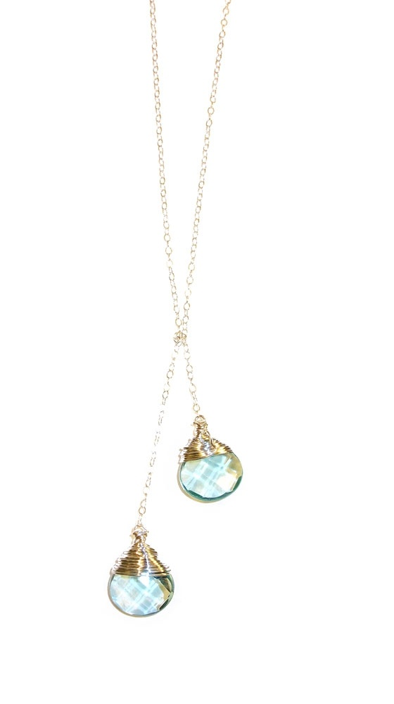 Crystal Necklace- 14k Gold Filled by Robyn Rhodes-Luxe YardBaby Blue, Crystal Necklace, Rhode Crystals, Simple Necklaces, Mermaid Tears, Gold Filling, Crystals Necklaces, Necklace 14K Gold, Crystals Necklace 14K