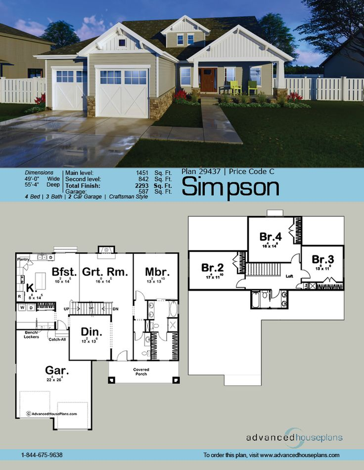 ordinary 1.5 story house plans european #5: Featuring a craftsman elevation style, the Simpson is a classy 1.5 story  house plan with
