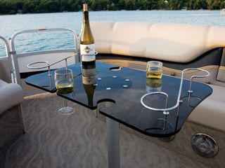 smoked glass table with cup holders for pontoon boats avalon rh pinterest com portable tables for pontoon boats