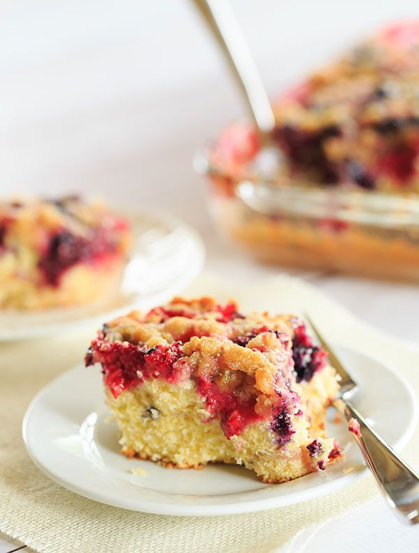Mixed Berry Ginger Crumb Cake - So much flavor! A perfect cake for late summer or early fall. | http://www.browneyedbaker.com/mixed-berry-ginger-crumb-cake/