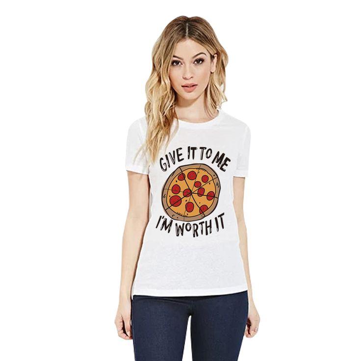 Купить товарH601 2016 новый женский панк майка пицца и письма печатаются свободного покроя смешные для леди белый топ тройники Большой размер в категории Футболкина AliExpress.