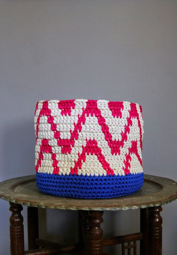 Big Crochet Basket Magenta Fuchsia Ikat pattern by DeliriumDecor