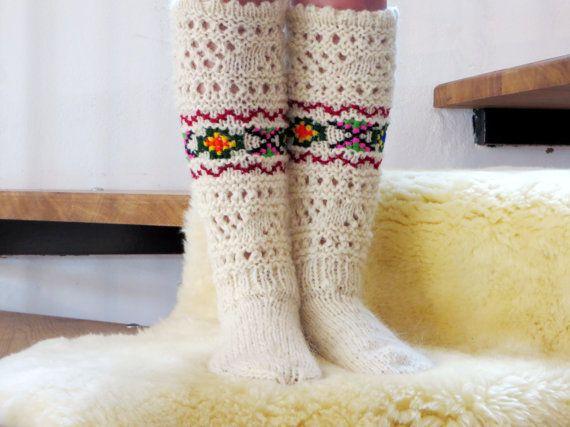 Handmade woolen socks,Women's knitted socks,Warm socks for a gift
