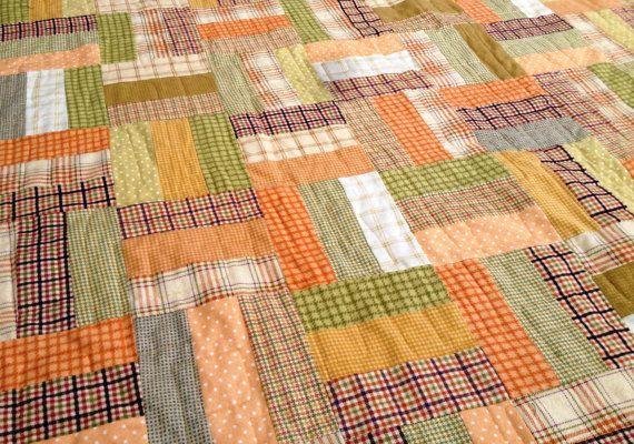 Handmade Pumpkin Patch Plaid Woolies Flannel Quilt Twin