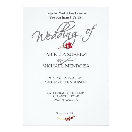 Romantic Scarlet Red Floral Wedding Invitation - tap to personalize and get yours