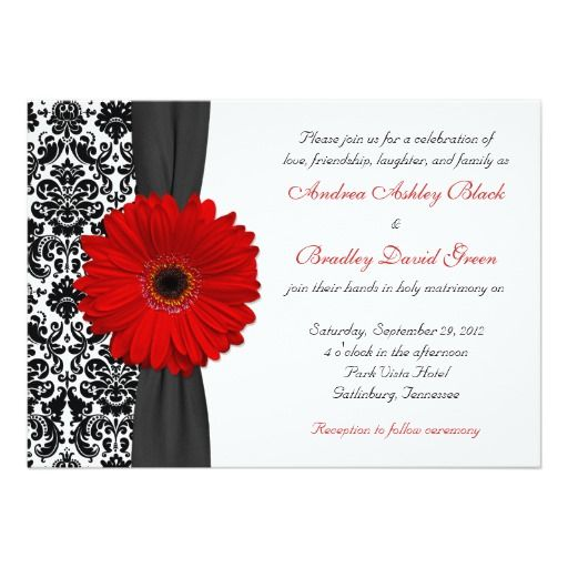 Gerber Daisy Red Black White Damask Wedding 5x7 Paper Invitation Card