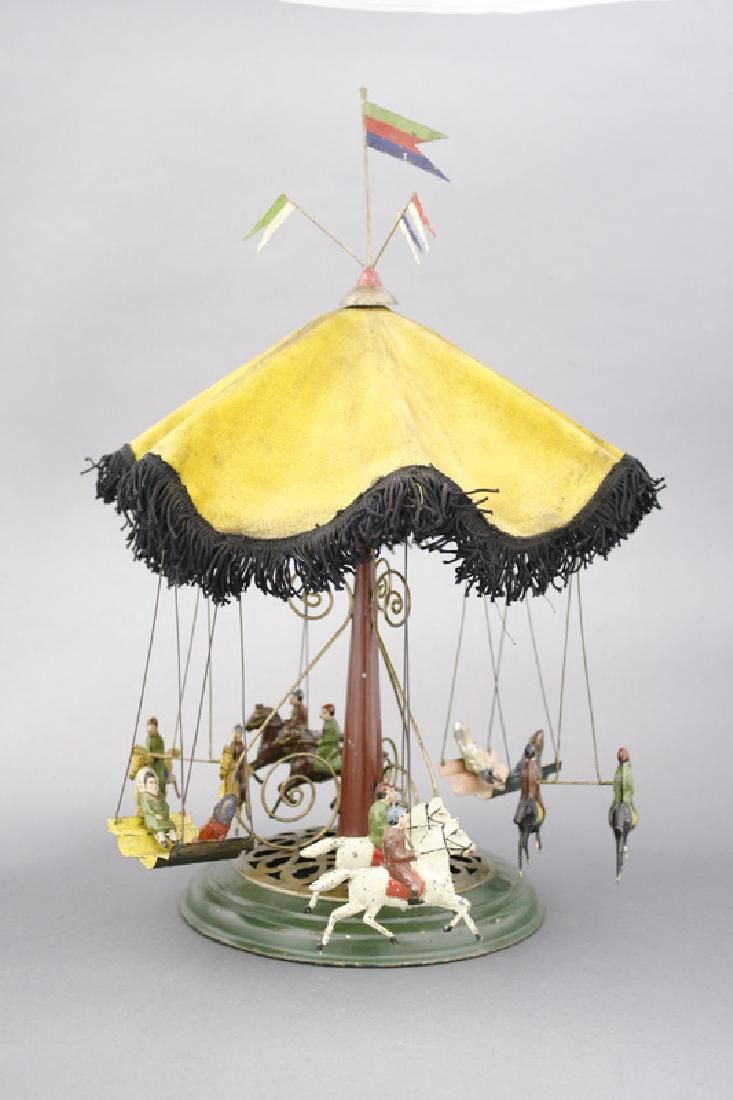 Lot: Carousel With Fabric Canopy, Lot Number: 0666, Starting Bid: $1,100