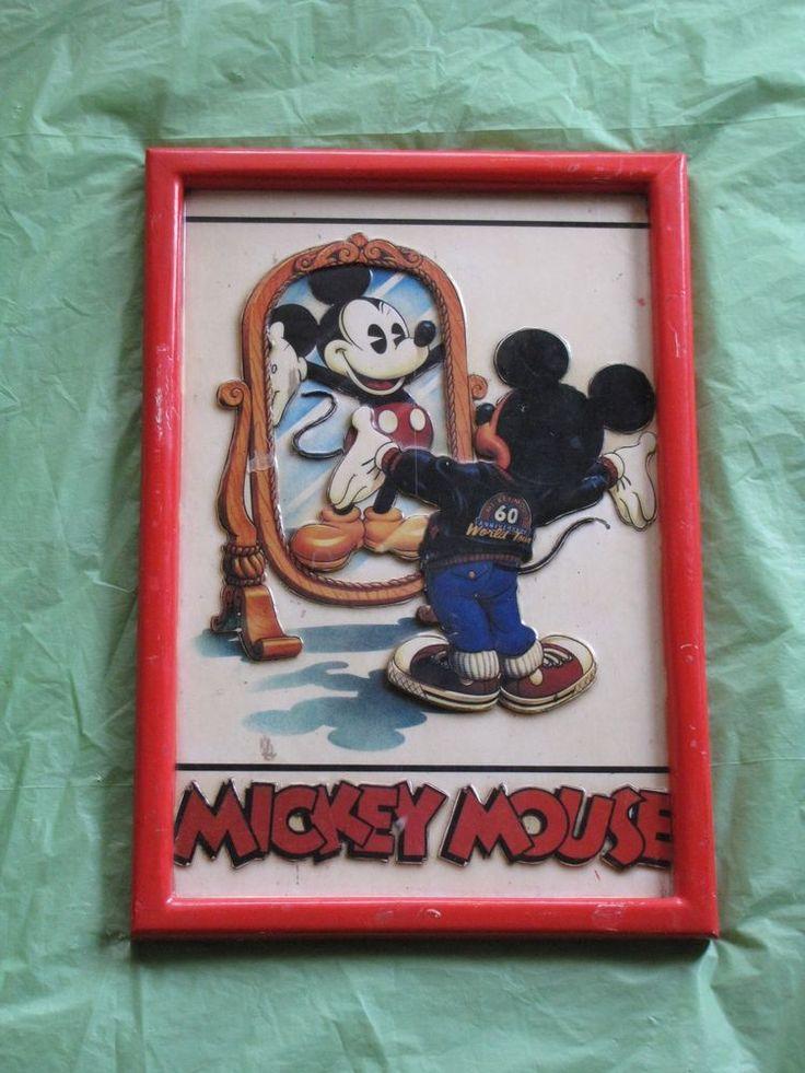 Mickey Mouse Disney Anniversary 60th Laminated 3D Framed Art Artwork Vtg 1988