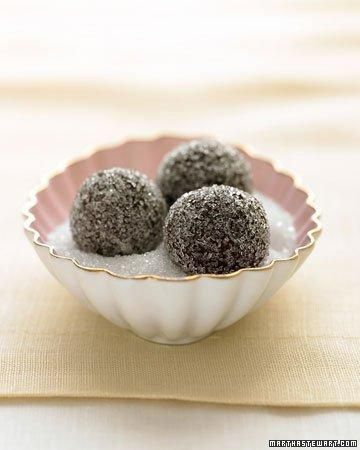 Chocolate-Champagne Truffles in Sparkling Sugar Recipe: Chocolatechampagn Truffles, Desserts, Chocolate Champagne Truffles, Sweet, Food, Sparkle Sugar, Martha Stewart, Sugar Recipes, Chocolates Champagne Truffles