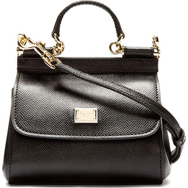 Dolce & Gabbana Black Pebbled Leather Mini Miss Sicily Bag found on Polyvore