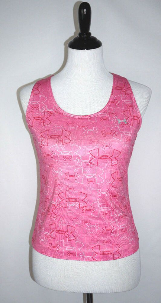34827d47 Under Armour Heat Gear Womens Sz M Pink Athletic Tank Top with Built ...