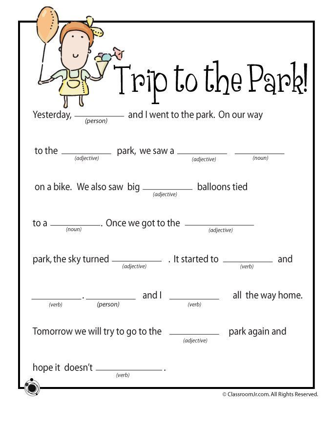 FREE Trip to the Park Mad Libs Printable