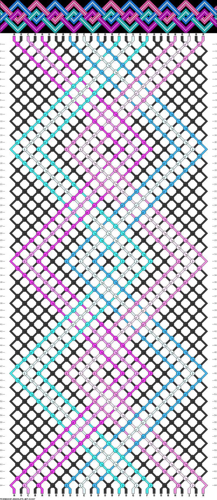 friendship bracelet pattern ● 28 strings ● 9 colors ● A(2), B(16), C(1), D(2), E(1), F(2), G(1), H(2), I(1)