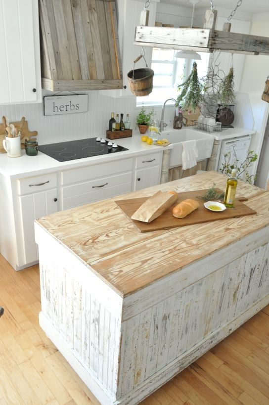 Get Inspired For Spring With This Dreamy, Rustic, White Kitchen and a Range hood I could actually create myself <3
