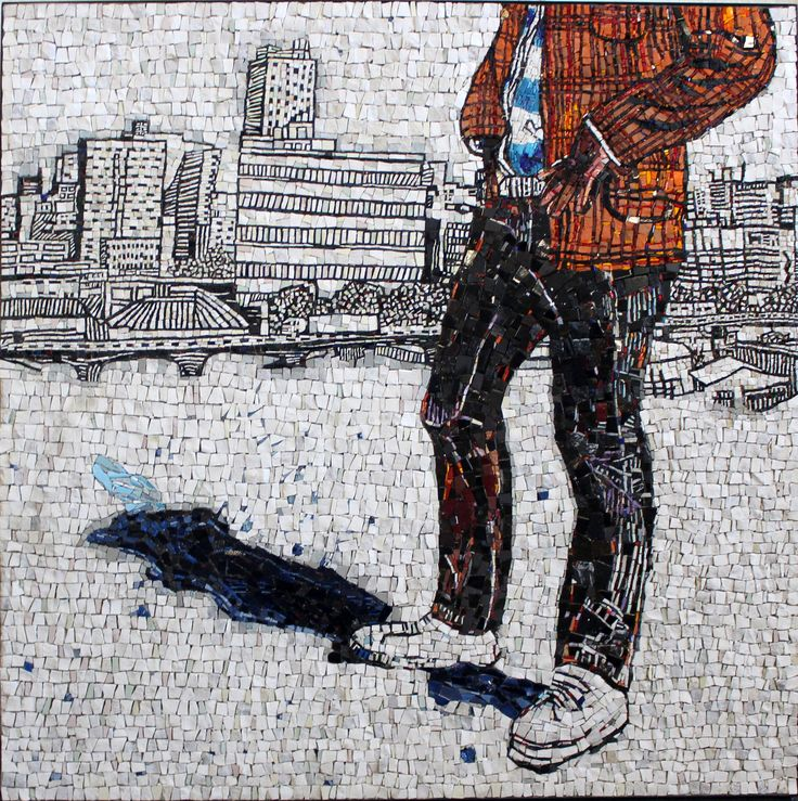 """Design by: Audrey Anderson, in association with Spier Arts Academy and Yellowwoods Art. I was one of five artisans to work on this piece. """"Man in the City"""" 1.2m x 1.2m, Natural and Man-made stone, Industrial glass, Ceramics and Smalti."""