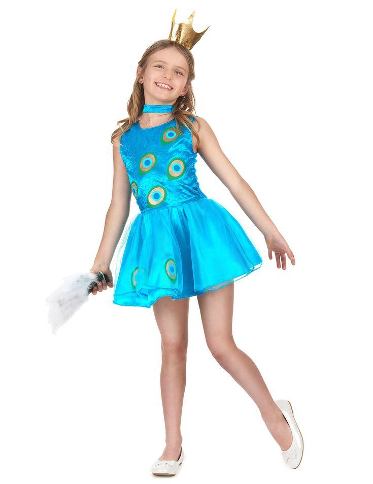 Disfraz pavo real niña: Este disfraz de pavo real para niña incluye un vestido, una cofia y un collar (zapatos no incuidos). El vestido no tiene mangas y es de color azul claro. En el pecho lleva motivos del plumaje...