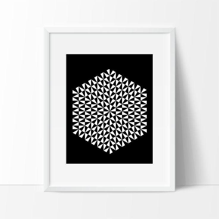 Modern Geometric Art Print - Black