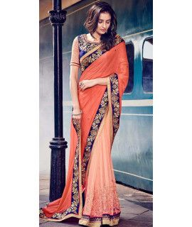 Lavishing Orange Georgette Saree.