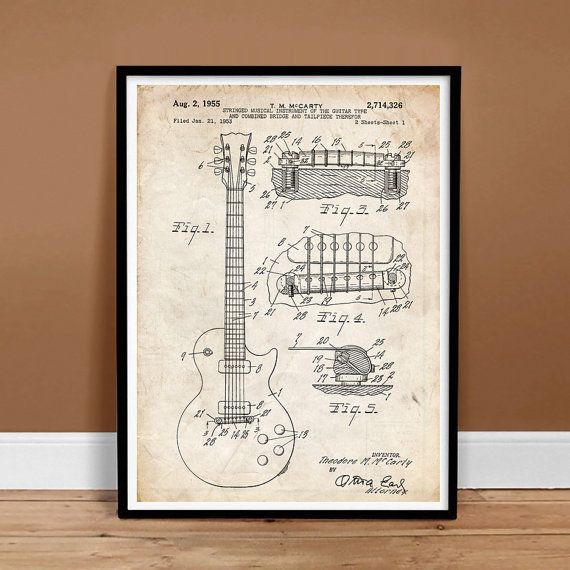 Buy Gibson LES PAUL Guitar 1955 US Patent Art Vintage - Printable Instant Digital Download, Last Minute Gift Idea by stevesposterstore. Explore more products on http://stevesposterstore.etsy.com