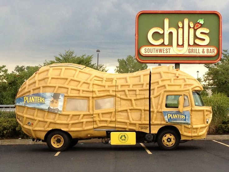 STRANGE COMMERCIAL BUSINESS VEHICLES - PLANTERS PEANUTS TRUCK IS ONE HUGE PEANUT!