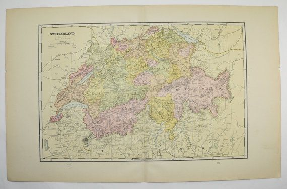 Switzerland Map Swiss Alps 1887 European Travel Map, Vintage Map, Antique Wall Art Map, Vacation Gift Idea for Decorating by OldMapsandPrints on Etsy