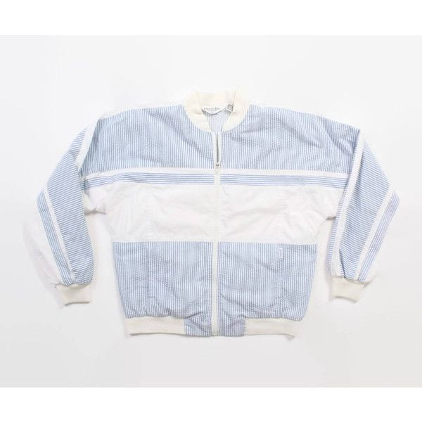 Vintage DIOR Striped Jacket 1980s Oversized Blue White Seersucker... (65 CAD) ❤ liked on Polyvore featuring tops, hoodies, vintage tops, striped hoodies, lightweight hoodies, lightweight zip up hoodies and oversized hoodies