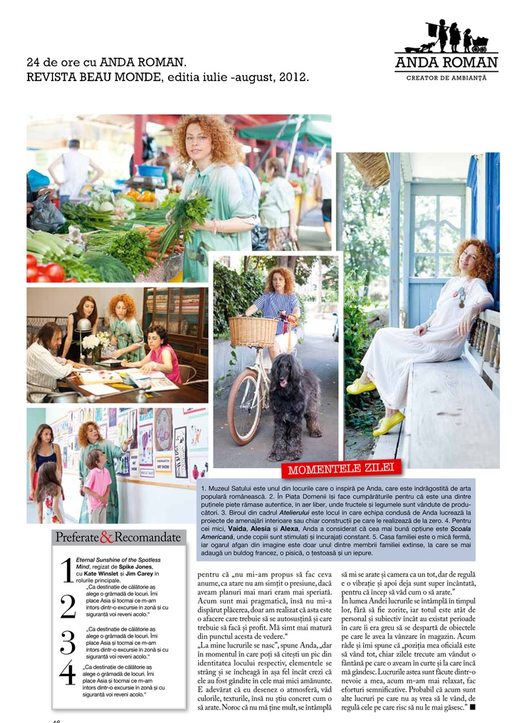 """""""Anda Roman, 24 hours"""" - Beau Monde Magazine, July-August issues, 2012."""