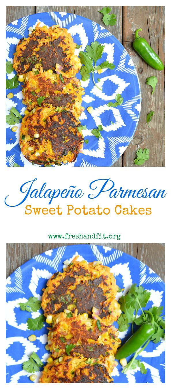 Corn and Sweet Potato pair up with spicy jalapeño and parmesan cheese to make these tasty little cakes, delicious anytime of day! #sweetpotato #vegetarianrecipes #healthyrecipes