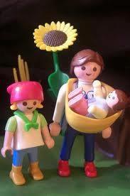 playmobil zonnebloem+moeder, kind&baby+ draagzak