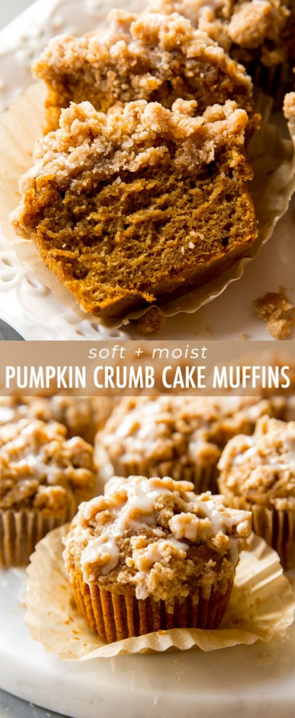 Soft and moist pumpkin muffins topped with pumpkin spice crumbs and maple icing!…