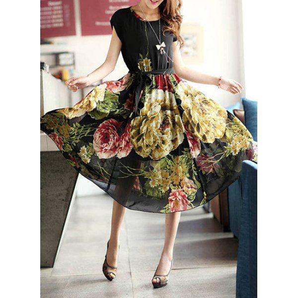 Stylish Scoop Neck Flower Print High Waist Short Sleeve Women's Chiffon Dress, BLACK, XL in Chiffon Dresses