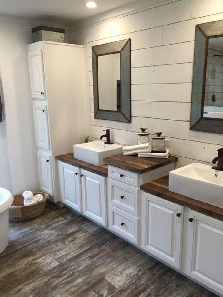 46 Beautiful Farmhouse Bathroom Ideas with Rustic Designs #bathroom … – DIY Decorations
