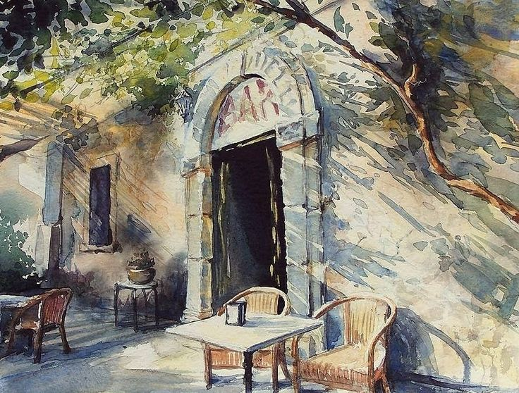 Edyta Nadolska Watercolor Art - 'Vitelli Bar', Savoca, Sicilia, 2016