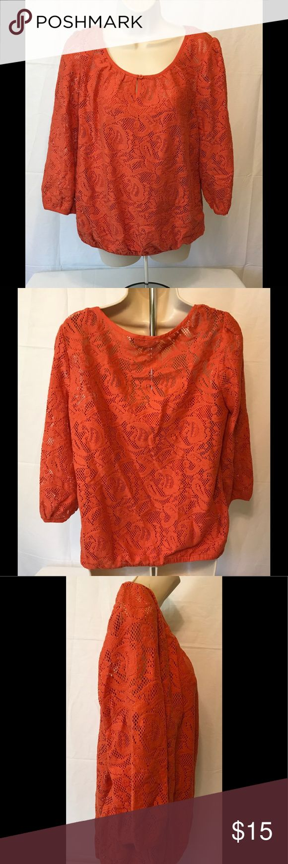 "Casual Collection Debenhams Woman's 14 Blouse NICE Casual Collection Debenhams Woman's Blouse Orange With attached tank top size 14.Beautiful blouse free of stains, rips, odors. This is very pretty can be worn with jeans, slacks, leggings. Measurements are approximate laying flat  Arm pit to arm pit 22"" Length from top of blouse center back to hem line 22.5"" Thanks for looking. I can bundle with other items if you like. Item comes from a smoke free home casual collection Tops Blouses"