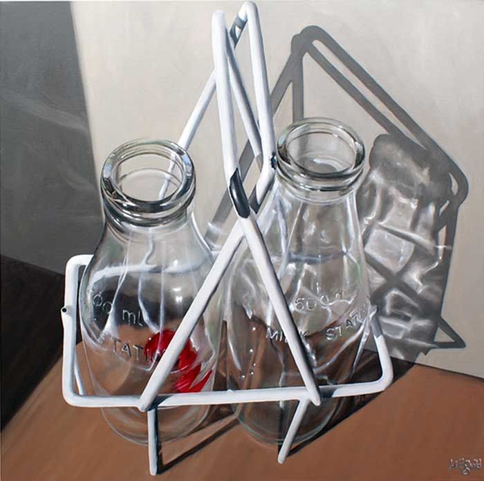 'Milk for Two' oil on canvas 762mm x 762mm. by Matt Guild a New Zealand artist.