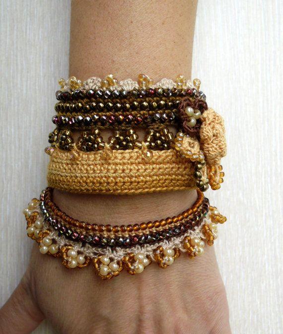 Brown Yellow Crochet Bracelet Cuff Beaded by SvetlanaCrochet