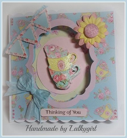 I have made this card using products from the new forget me not range by Dovecraft/Trimcraft