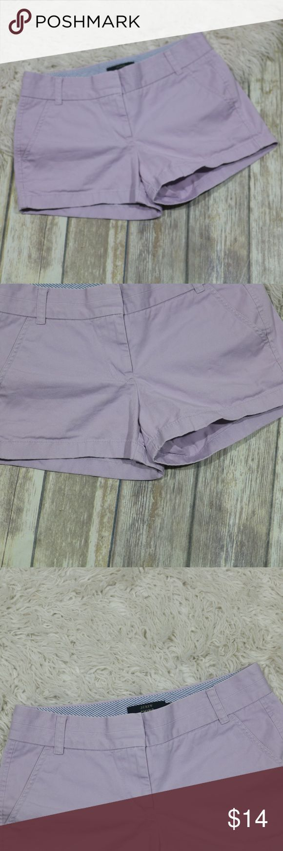"""J. Crew 3"""" Inseam Chino Shorts Purple Shorts 61456 J. Crew women's 3"""" chino shorts.  Size 2.  Style 61456.  100% cotton.  Machine wash.  In good, preowned condition with no flaws noted.  No trades, offers welcome.  Measures approximately 15"""" at back waist, 12"""" waist to hem, 3"""" rise. J. Crew Shorts"""