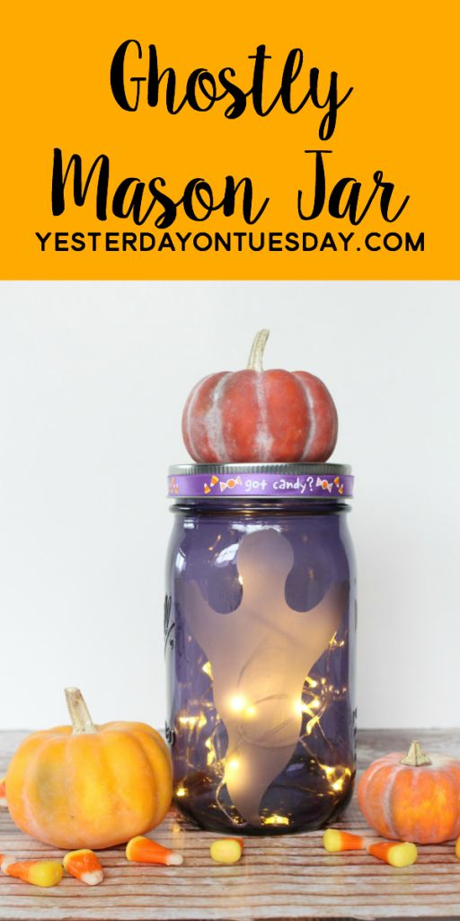 its a wonderful technique for halloween projects like this ghostly mason jar - Diy Halloween Projects
