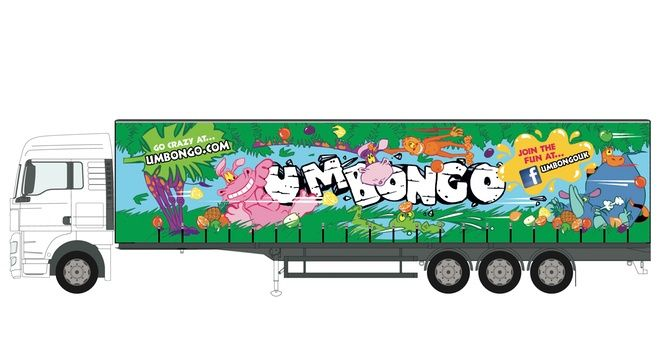 Um Bongo characters feature on UK lorries, driving fans to Facebook