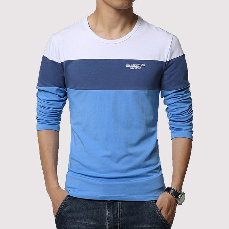 Autumn and winter Hitz solid color stitching round neck long-sleeved sleeve Men's T-Shirt